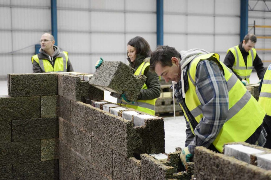 Students learning how to build with ICF at a Durisol UK training day