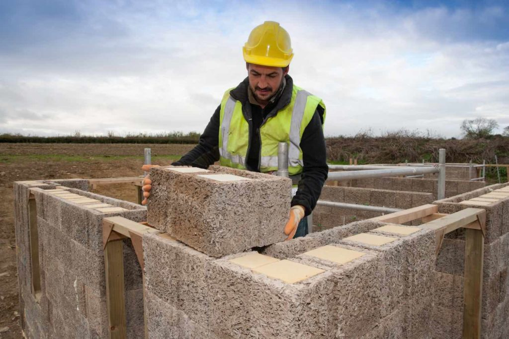 Man building with Durisol UK ICF units