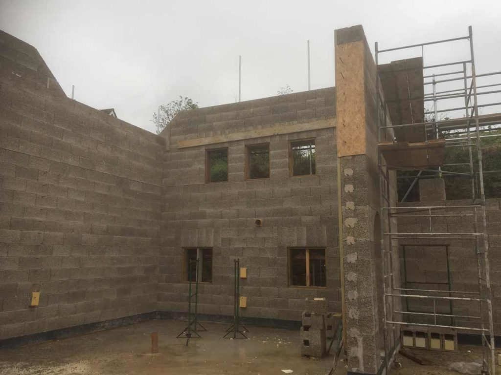 Photo of the construction of a luxury house built using insulated concrete form block