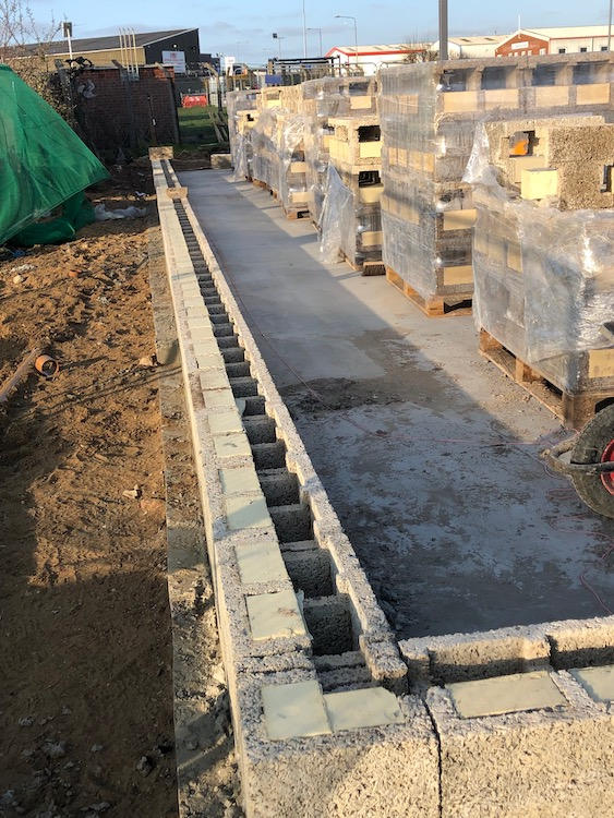 Durisol ICF laid on raft foundation
